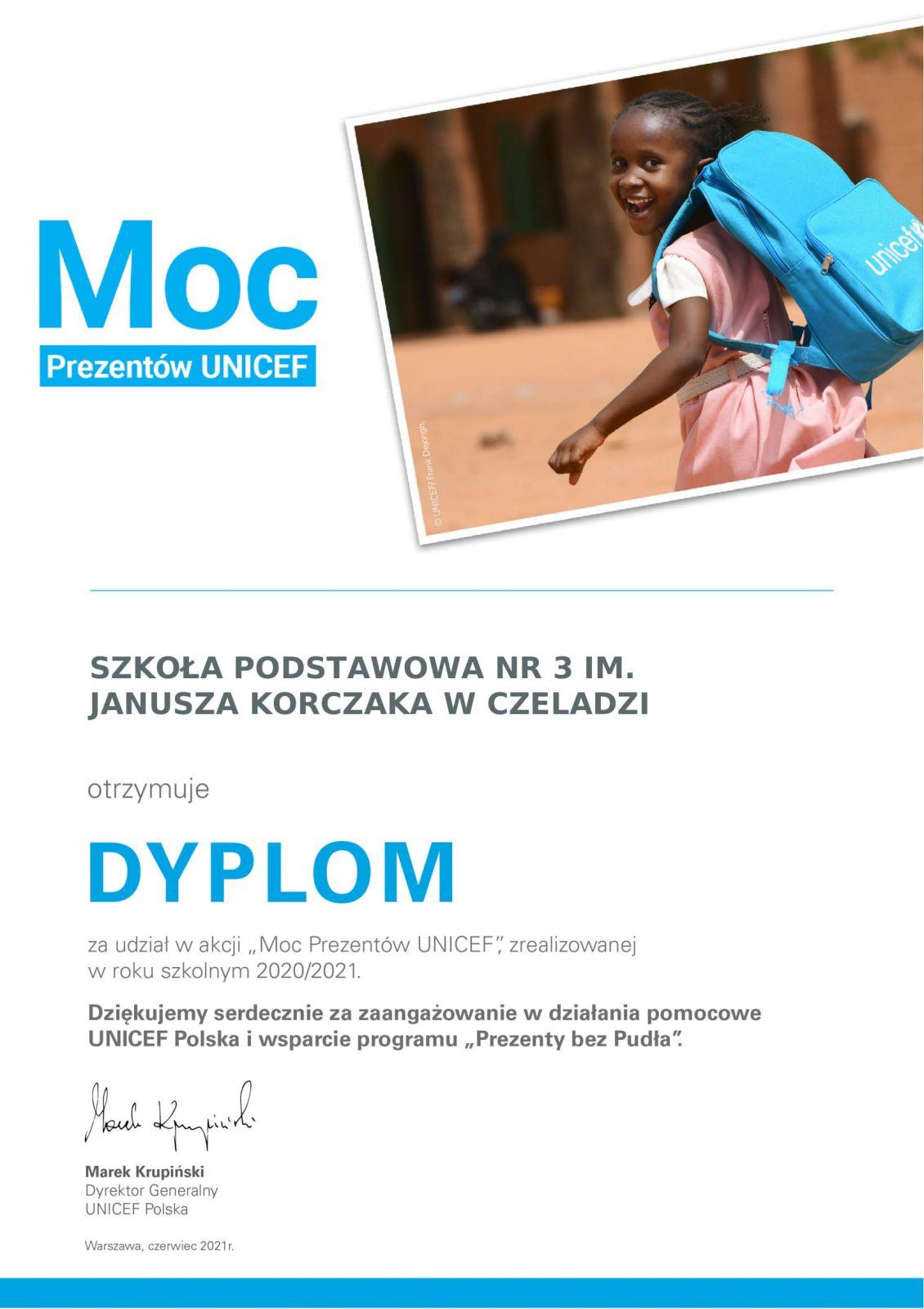 dyplom UNICEF